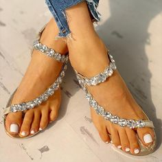 Buy 2 items Get 1 item at off(Code:shopping) Size Chart Details Occasion:Daily,Casual Gender:Women Shoes Style:Sl Pearl Shoes, Pearl Sandals, Boho Sandals, Rhinestone Shoes, Wedge Sandals, Women Sandals, Shoes Women, Striped Sandals, Sparkly Sandals