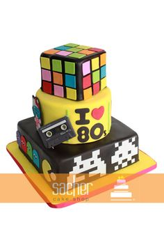 80's Cake - I like the I heart 80s on the side because it matches the koozies