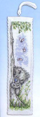 Teddy bear bookmark - free cross stitch pattern