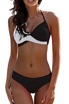 bd4f367d73 Women's Fashion Shop + Shop From Amazon · Swimsuits · Amazon.com: tengweng  Women's Sexy Solid Halter Padded Push Up Bikini Set Two Pieces