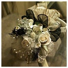 Lillie's and Roses Black and Gold Wrist Corsage on Etsy, $30.00