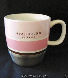 $15.99 2007 Starbucks Coffee Urban Stainless Steel Pink White Stripe 10 oz Mug Tea Cup | eBay