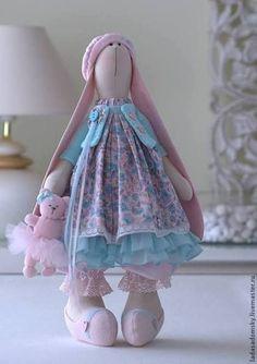Зайка Ameli с медвежонком - 39 см - бледно-розовый,зайка девочка,зайка игрушка: