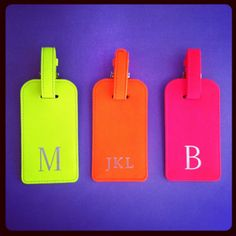 Spotting a suitcase at baggage claim is a cinch with can't-miss-them luggage tags in neon yellow, orange, or pink. $36 with monogram. graphicimage.com. #hudson #holidaytravel