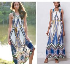 """Host Pick 9/28Anthropologie Pakpao Maxi Dress The name """"Maeve"""" references a purple flower, a Greek goddess and a famously beautiful Irish warrior queen. In light of these inspirations, it's no surprise that the Maeve brand is both feminine and playful, a representation of strength and beauty at once. We'd balance this bold pattern with gold jewelry, simple sandals and fuss-free locks. By Maeve  Removable tie at waist  Side pockets  Pullover styling  Polyester; polyester lining   Regular…"""