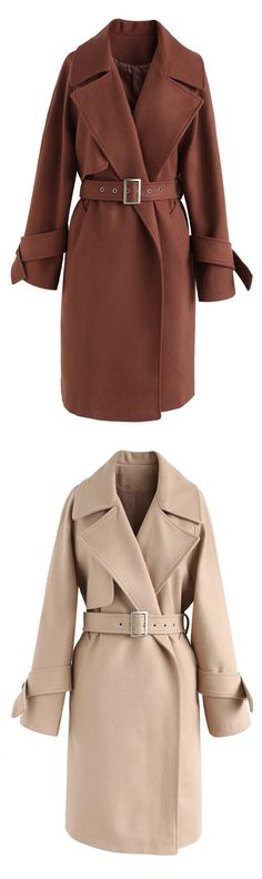 My Winter Lover Longline Wool-Blend Coat in Brown/Tan