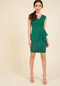 Public Speaking Highly of You Sheath Dress in Clover | Mod Retro Vintage Dresses | ModCloth.com Give this green sheath dress a casual compliment? Sure, it'll do, but a frock this fab is deserving of podium-based praise! In fact, if it were up to us, we'd host a press conference for how expertly you rock this ModCloth-exclusive frock's surplice neckline, gathered bodice, and wrap-style skirt.