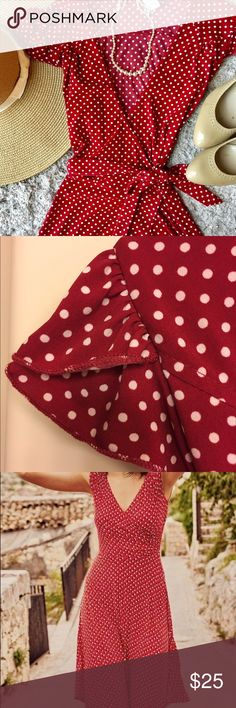 Red Wrap Dress Beautiful red wrap dress with white polka dots by Aqua. Feminine, ruffle cap sleeves. Excellent condition. Hem hits knee height. Aqua Dresses