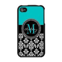 Black Damask iPhone 4 Case Monogram Aqua by Damask Gallery