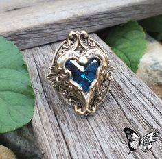 Poseidons Heart deep blue heart ring by FlightsOfFancyOZ on Etsy Artisan Jewelry, Handmade Jewelry, Faceted Glass, Ring Necklace, Deep Blue, Altered Art, Heart Ring, Blue Hearts, Fancy