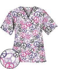 Happy Scrubs® Peace Out White Scrub Top