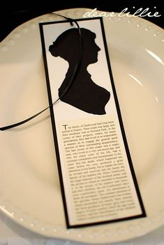 Jane Austen bookmarks with silhouette and text from the actual novel