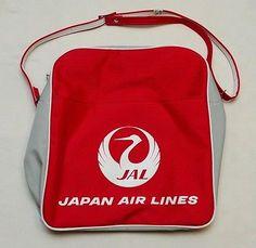 vtg japan air lines jal red flight carryon shoulder travel bag white crane
