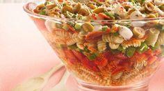 Layered Pizza Salad Recipe, fabulous for potlucks.