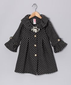 Both playful as well as posh, this darling coat features a playful heart pattern on thick, cozy fabric. Big buttons, flared cuffs and wide collar touting a flower embellishment make this piece a stylish sight to behold. Toddler Swag, Heart Patterns, Just Kidding, Black Heart, My Little Girl, 4 Kids, That Look, Kids Fashion, Style Inspiration