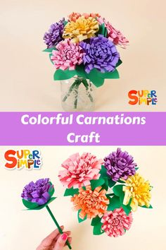 Make some beautiful flowers for spring! They make a gorgeous gift, too. Tissue Paper Crafts, Tissue Paper Flowers, Easy Crafts For Kids, Art For Kids, Simple Crafts, Mothers Day Flowers, Mothers Day Crafts, Flower Crafts, Diy Flowers