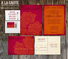 Indian Style Wedding Invitation And RSVP Card By Alacartestudio, $30.00
