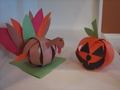 3D pumpkins and turkeys