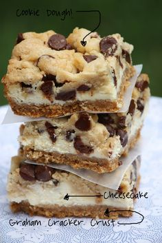 cookie dough cheesecake bar.  (simple route: graham cracker crust, bowl of premade cheesecake filling, tube of cookie dough.  layer.  bake at 325 for 30 minutes.  chill in fridge for a couple of hours or overnight.  serve.)