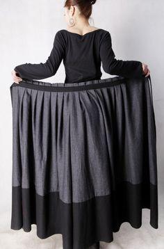 Jupes longues, Laine gris jupe portefeuille - Hiver Jupe MM68 est une création orginale de yanhuayue sur DaWanda