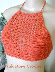 PINK ROSE CROCHET /: Top Anne Orange Red