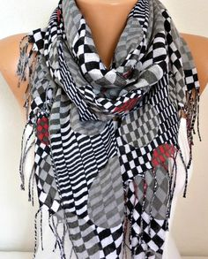 Spring Gray Tones Cotton Scarf Shawl Summer Cowl by fatwoman