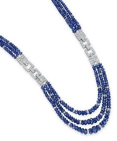 A SAPPHIRE BEAD AND DIAMOND NECKLACE