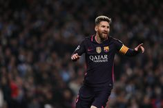 Lionel Messi of FC Barcelona celebrates after scoring a goal to make it 01 during the UEFA Champions League match between Manchester City FC and FC...