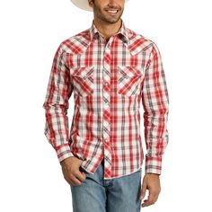 From a day in the saddle to a night out with the guys, a Men's Wrangler Shirt will keep you looking good. This men's snap shirt has red and white plaid print. The long sleeve shirt for men offers a classic western shirt style. Western Outfits, Western Shirts, Tent Sale, Wrangler Shirts, Red Plaid, Shirt Style, Long Sleeve Shirts, Men Casual, Man Shop
