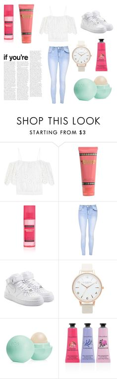 """""""comfy but stylish"""" by soph-133 ❤ liked on Polyvore featuring Ganni, Nicki Minaj, Glamorous, NIKE, Topshop, Eos and Crabtree & Evelyn"""