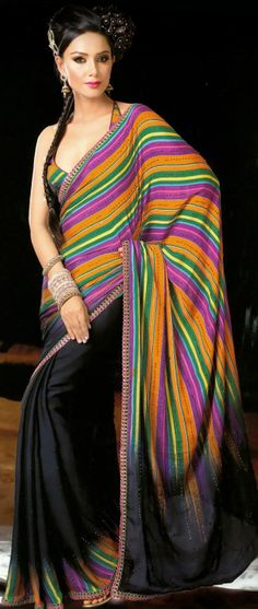 Black, Orange and Purple Faux Crepe Saree with Blouse @ $88.07