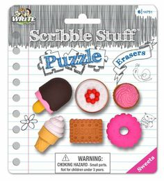 Amazon.com: Write Dudes Scribble Stuff Puzzle Erasers, Assorted Styles, May Vary, 6 per Pack (14786): Office Products $4.22