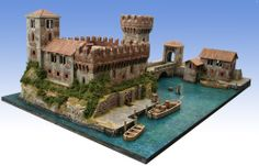 The Manor on the Lake Fantasy Town, Fantasy World, Building Concept, Building Ideas, Minecraft Architecture, Wargaming Terrain, Courtyard House, Medieval Art, Fantastic Art