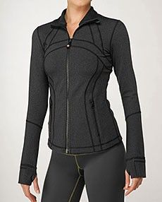 Lululemon Athletica Define Jacket. Love the thumbholes...everything I see Luluemon I love...too bad the workout budget comes no where near the prices of these pieces.