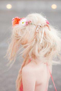 www.greenandbloom.... Blonde hair pale pink peach highlights pastel bleached crimped hair