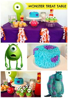 Monsters Inc/ Monsters University Themed Sweet Table: Cake, cupcakes, candy