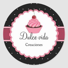 Shop Whimsical Bakery Cupcake Pink Box Seal created by SocialiteDesigns. Personalize it with photos & text or purchase as is! Baking Logo Design, Cake Logo Design, Cupcake Logo, Cupcake Bakery, Cupcake Vector, Bakery Business Cards, Cake Business, Logo Dulce, Dessert Logo
