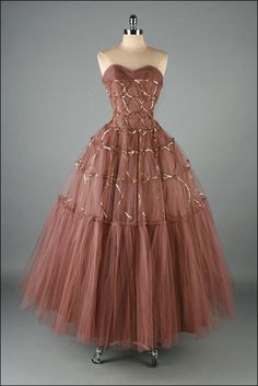 ~Vintage 1950s Dress . Copper Tulle Love the copper!~