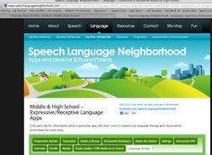 Speech Language Neighborhood  Apps and Ideas for SLPs and Parents  Middle & High School -Expressive/Receptive Language Apps