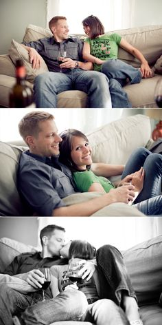 I love this at-home style of #engagement pictures.