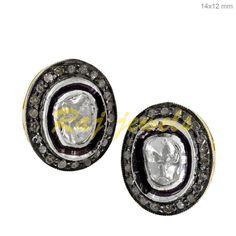 Sterling Silver Diamond Stud Earrings Rose Cut 14k Gold Vintage Look Jewelry PY #raj_jewels #StudEarrings