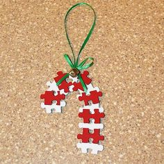 Puzzle Piece Candy Cane Ornament Craft for Sunday School Kids Diy Christmas Decorations, Christmas Crafts For Kids, Simple Christmas, Christmas Projects, Holiday Crafts, Christmas Holidays, Christmas Ornaments, Christmas Puzzle, Tree Decorations