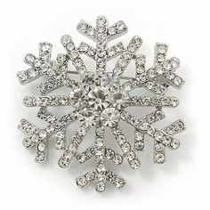 Clear Crystal 'Snowflake' Brooch In Silver Plating - 4cm Diameter Avalaya. $19.08. Wear On: apparel, lapel, bag. Gemstone: diamante. Fastening: rotating pin clasp. Occasion: cocktail party, casual wear. Metal Finish: silver plated