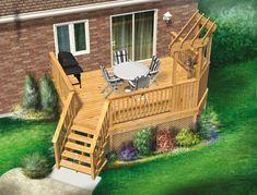 Cette jolie terrasse en bois surélevée à un niveau est agrémentée d'une pergola. Simple à construire, elle est ancrée à l'arrière de la maison et entourée de garde-corps à barreaux pour plus de sécurité.