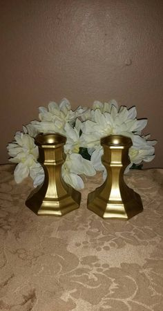 Check out this item in my Etsy shop https://www.etsy.com/listing/495934036/set-of-2-gold-candle-holders-gold-candle
