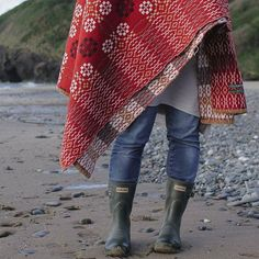 This image says it all. Beach, wellies, sisters and Welsh blankets.  @circleofpines