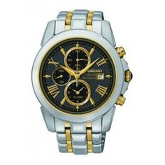 Seiko SSC194 Men's Watch Chronograph Black Dial Two-Tone Stainless Steel Band