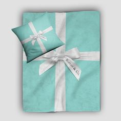 Tiffany Blue Box Inspired Personalized Decorative Throw Blanket Set