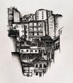 Finally finished this one :) Dez. 2015 #drawing #lisbon #cityscape #drawing #art #artwork #pen #blackwork #todrawtheworld