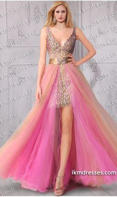 Aurora Inspired Amazing Dazzling Beaded Tulle Overlay  high low evening Dress Multi-Color Dresses Pink Dresses  http://www.IkmDresses.com/Aurora-Inspired-Amazing-Dazzling-Beaded-Tulle-Overlay-high-low-evening-Dress-p59496